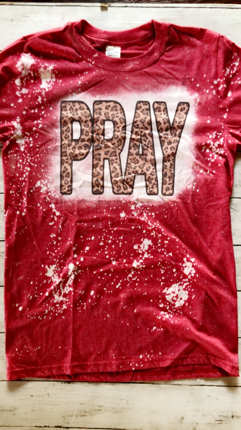 PRAY BLEACHED TEE (RED)