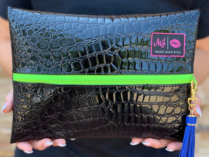 MIDNIGHT GATOR (Lime Green Zipper)