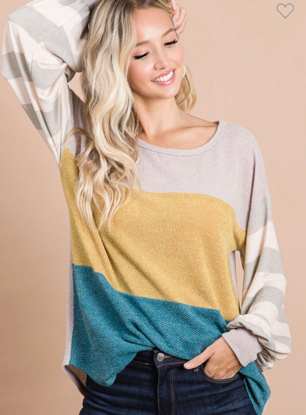 CHOOSE A SIDE TEAL & MUSTARD COLORBLOCK TOP