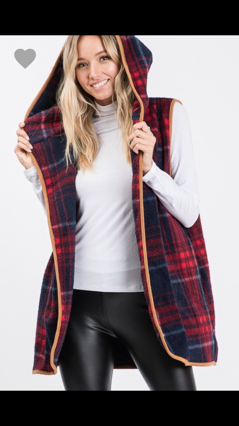 PLAID FLANNEL HOODIE VEST / CARDIGAN WITH POCKETS