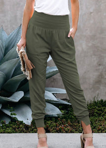 GO ANYWHERE HIGH WAISTED JOGGER STYLE PANTS (OLIVE)