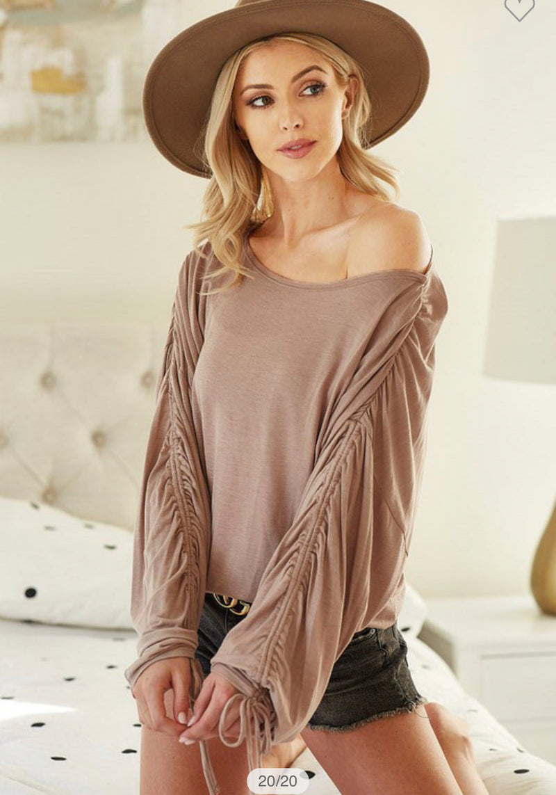 BiBi Jersey Knit Ruched Sleeve Top - Grey