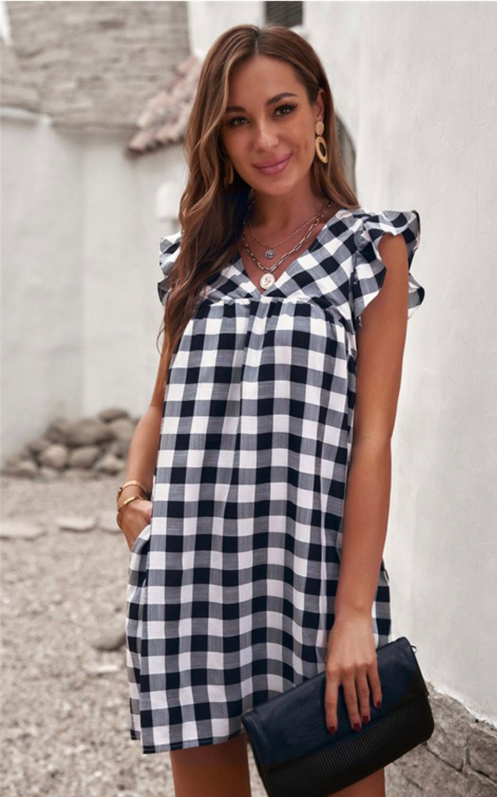 FORGET ME NOT PLAID DRESS WITH POCKETS