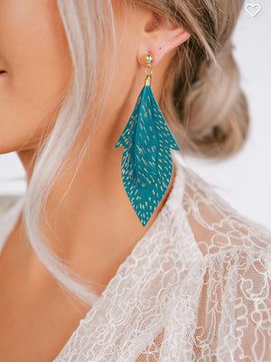 TEAL GOLD SPOTTED EARRINGS