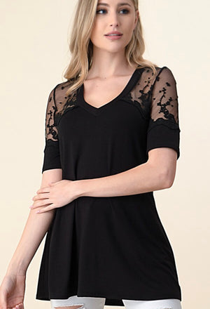 THE JENA BLACK LACE VNECK TOP