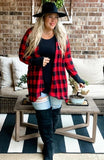 MERRY & BRIGHT BUFFALO PLAID CARDI