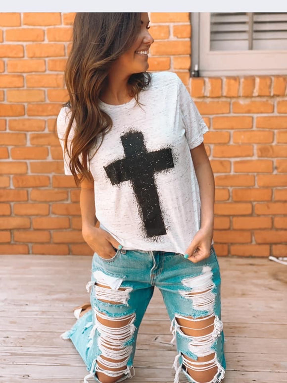 MEET ME AT THE CROSS GRAPHIC TEE