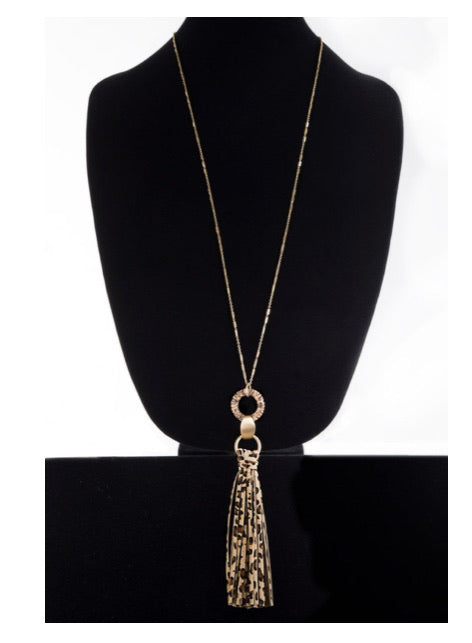 CHEETAH TASSEL NECKLACE & EARRING SET
