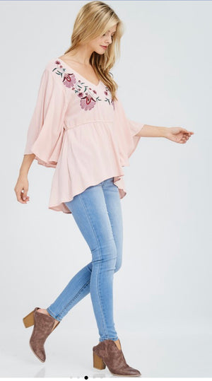 BABYDOLL PINK EMBROIDERED TOP