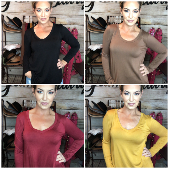 BASIC LONG SLEEVE VNECK TOPS (ALL SIZES)
