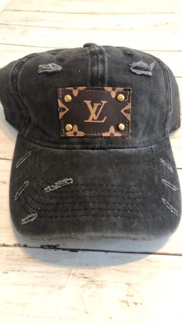 UPCYCLED LV PATCH CAPS - BLACK