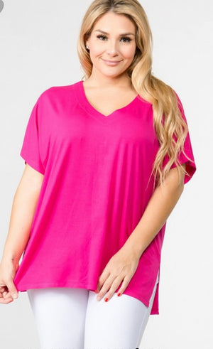 THE ZANDER VNECK PLUS SIZE TOP (PINK)