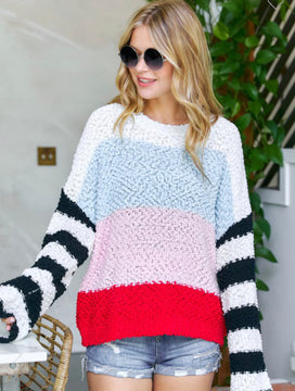 SKY BLUE AND MULTI STRIPED SWEATER