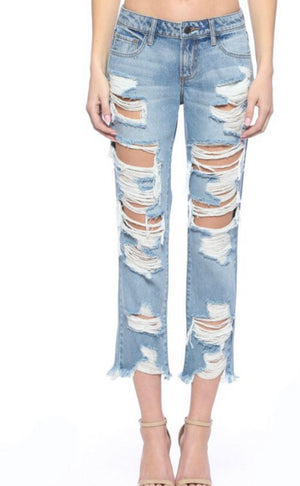 CELLO HYPER DISTRESSED BOYFRIEND JEANS