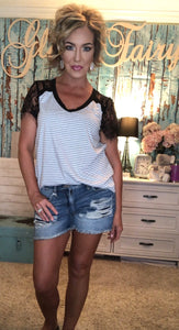 TEQUILA N LACE VNECK TOP (GREY STRIPES)
