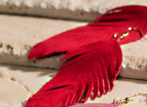 RED FEATHER EARRINGS (Leather)