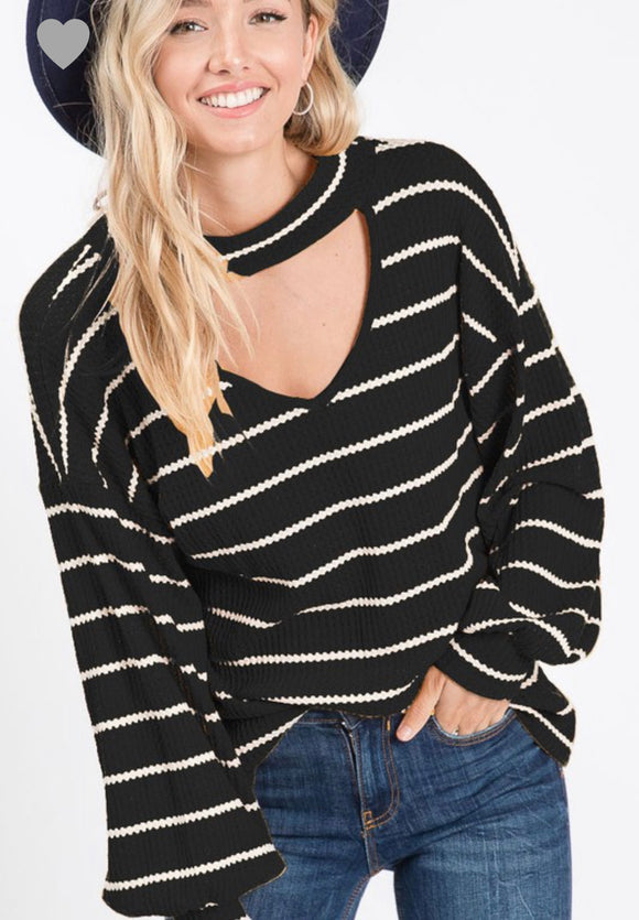 GOING PLACES STRIPED CAGED BUBBLE SLEEVE TOP (BLACK)