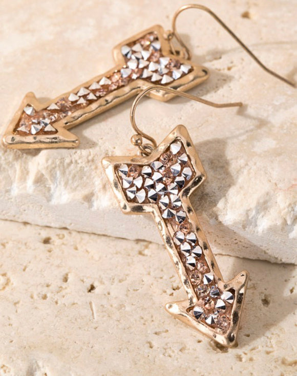 GO YOUR OWN WAY ARROW EARRINGS (ROSE)