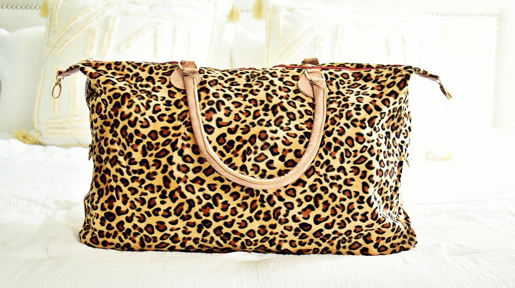 CHEETAH HAIR ON HIDE WEEKENDER WITH LEATHER STRAP