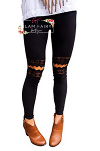 BLACK LACE KNEE CUT OUT LEGGINGS (ALL SIZES)