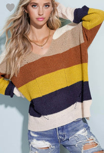 CAUGHT YOU LOOKING COLOR BLOCK SWEATER (IVORY / MUSTARD MIX)