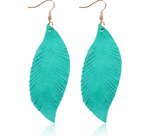 "TEAL FEATHER 2"" EARRINGS"