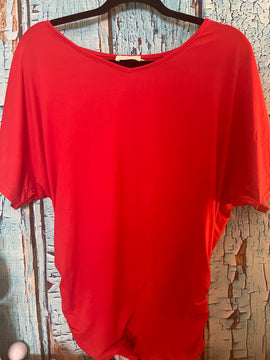 RED ROUCHED BOATNECK TOP