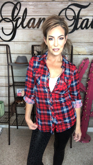 BUFFALO PLAID FLANNEL BUTTON UPS - HOLIDAY RED