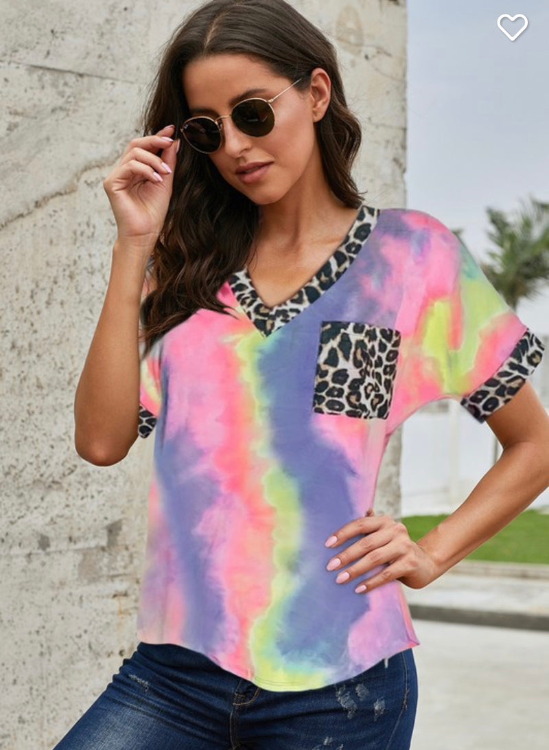 THE KELSEY LEOPARD TIE DYE TOP