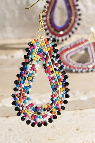 MULTI COLOR TEARDROP BEADED EARRINGS