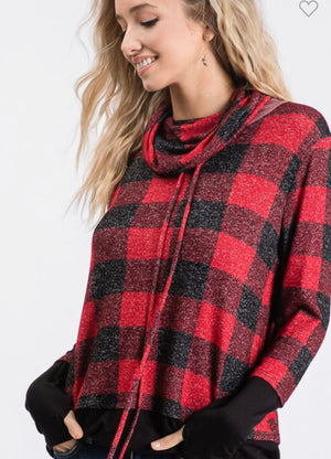 The Christmas Eve Buffalo Plaid Cowl Neck top