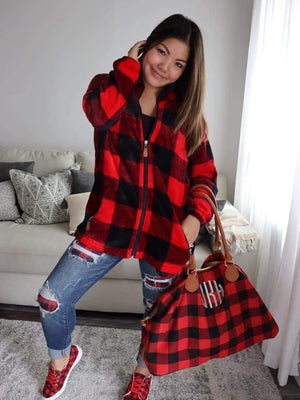BUFFALO PLAID ZIP UP SHERPA WITH POCKETS