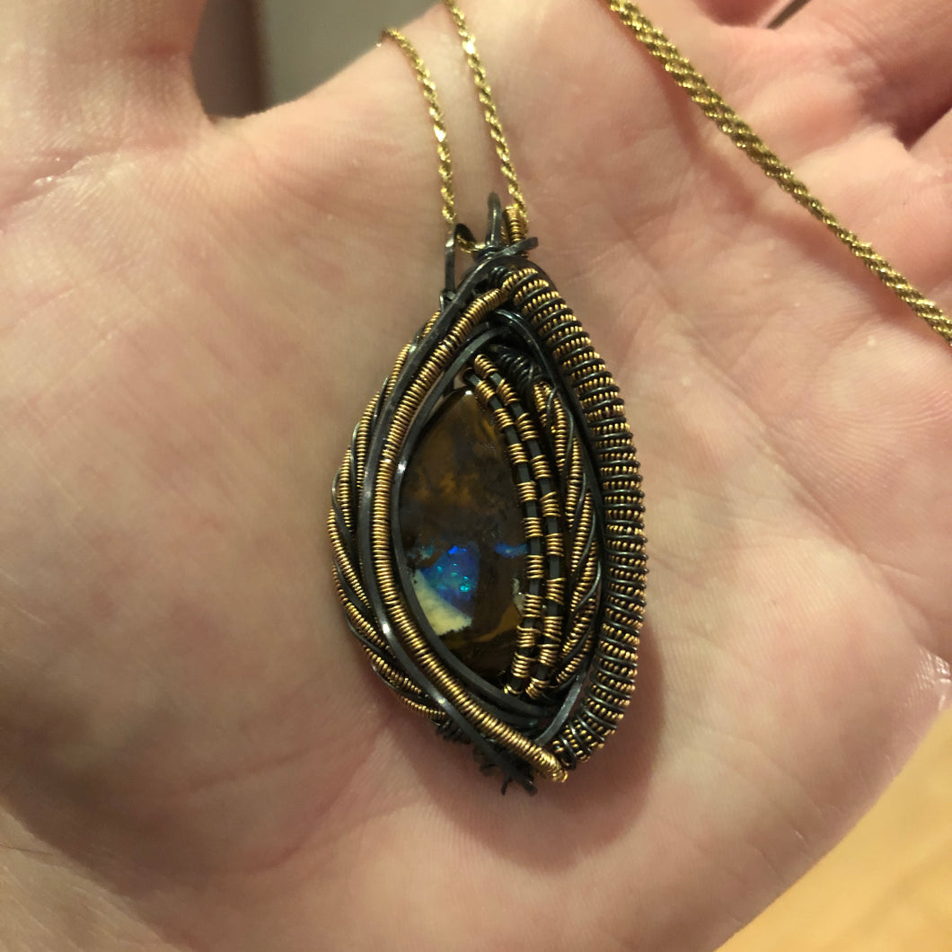 ✨🔮 Custom Boulder Opal Pendant In Gold & Oxidized Silver🔮 ✨