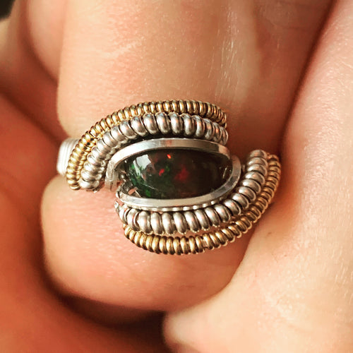 Custom Black Opal Ring Size