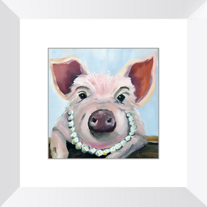 Pig and Pearls Framed Art Prints