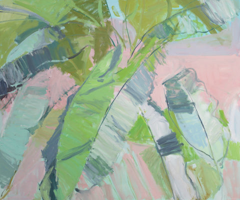Lisa Ballard, Banana Leaves in Sunlight, painting, 120 x 100 x 3 cm