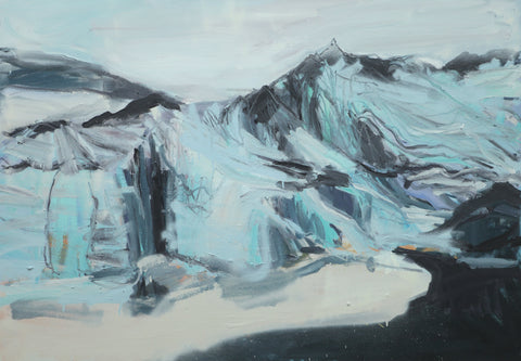 Lisa Ballard, Black Sand and Glacier, painting, 100 x 70 x 3.5 cm