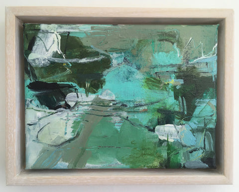 Janet Keith, Little Abstract With Jade Green, painting, 20 x 15 x 1.5 cm (18 x 23.5 x 3.5 cm framed)