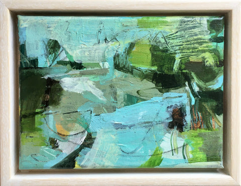 Janet Keith, Little Abstract With Turquoise, painting, 20 x 15 x 1.5 cm (18 x 23.5 x 3.5 cm framed)
