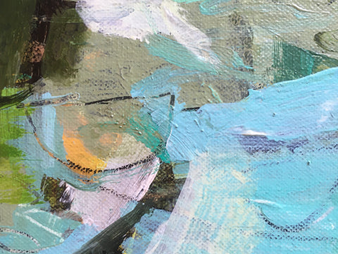 Little Abstract With Turquoise, painting, 20 x 15 x 1.5 cm (18 x 23.5 x 3.5 cm framed)