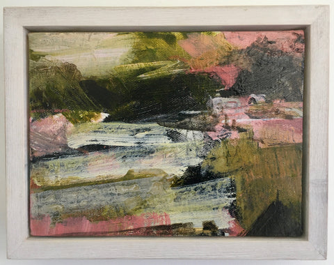 Janet Keith, On the Rocks, painting, 20 x 15 x 3.5 (23.5 x 18.5 x 5 cm framed)