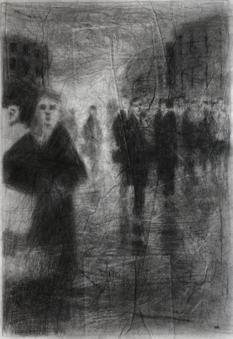 Noel Murphy, The Street, drawing, 27 x 39 cm
