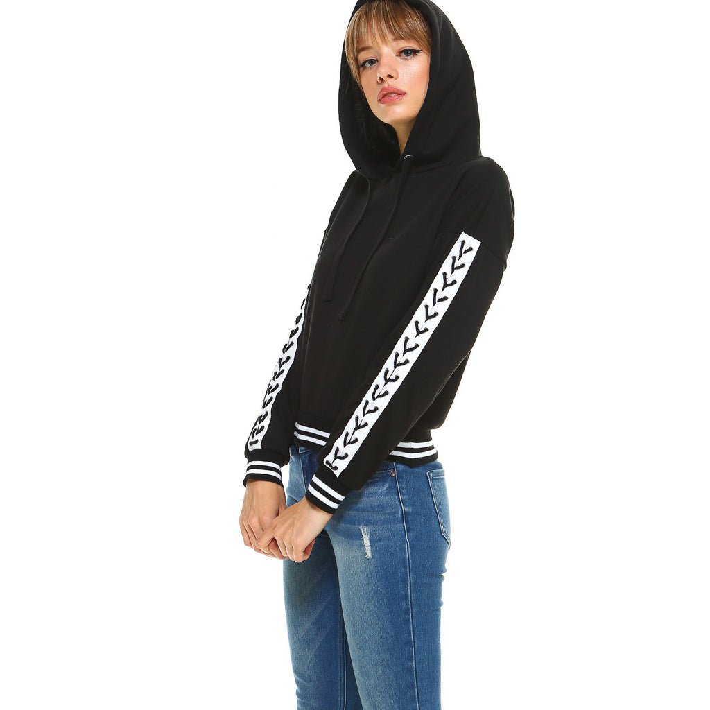 Fleece Lace Up Detail Sleeve Hooded Top