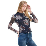 Floral Mock Neck Long Sleeve Fitted Top