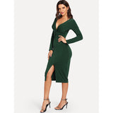 Deep V Neck Twist Front Split Dress