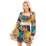 Patchwork Print Crochet Waist Peasant Dress