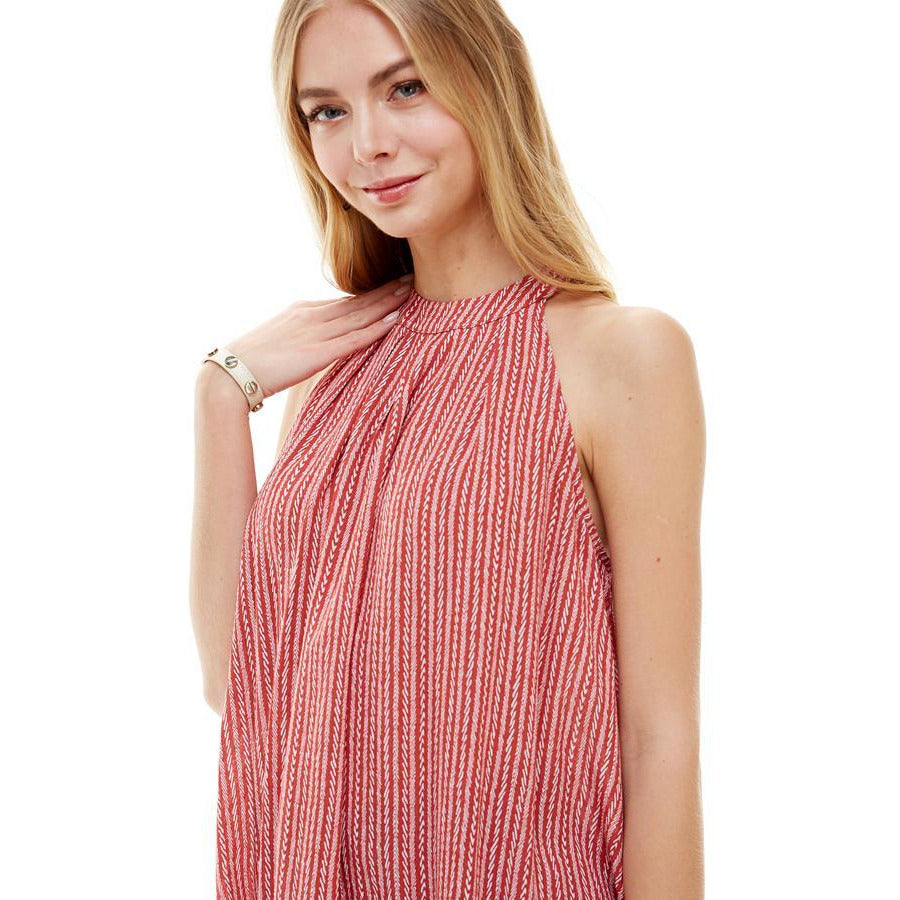 Stripe Pleated Neck Halter Top