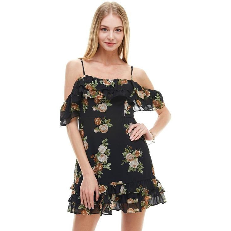 Floral Print Off Shoulder Ruffle Detail Dress