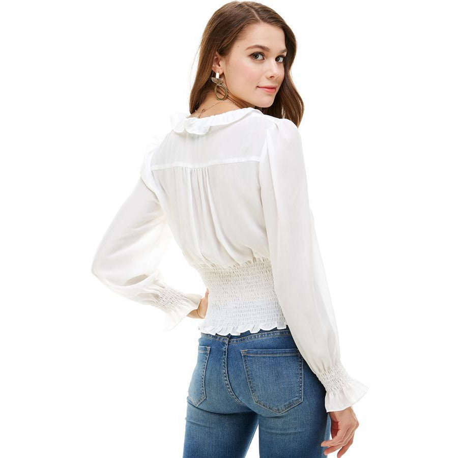 Ruffle Neck Smock Waist Long Sleeve Blouse