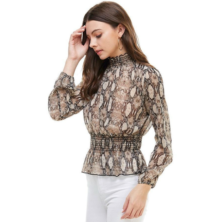 Snake Print Smocked Neck, Waist Long Sleeve Blouse